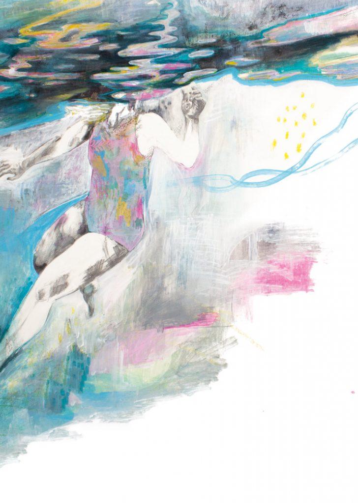 Swimmer drawing by Deirdre Byrne